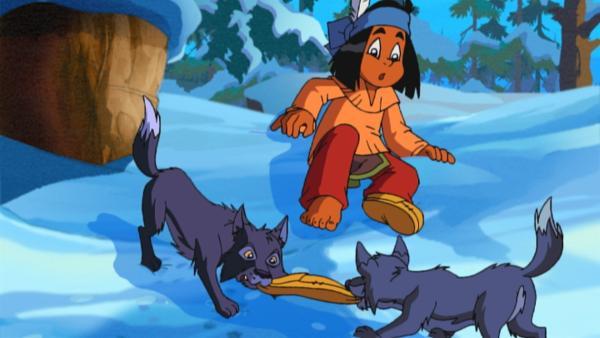 Es ist Yakari, der seine Angst überwindet und die Wölfe aufsucht. | Rechte: WDR/Storimages