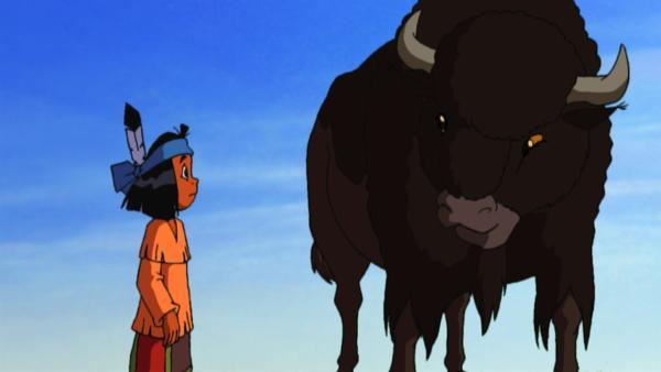 Yakari und ein Bison | Rechte: WDR/Storimages