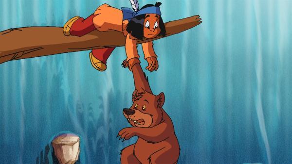 Yakari rettet ein Bärenjunges. | Rechte: WDR/Storimages