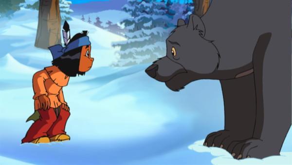 Als der Winter kommt, zieht sich der Grizzly zum Winterschlaf in seine Höhle zurück. Da hat Yakari eine Idee... | Rechte: WDR/Storimages