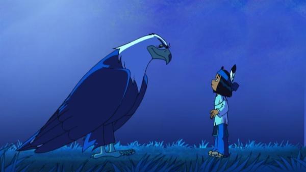 Großer Adler erscheint und schickt Yakari im Traum zurück in die Urzeit. | Rechte: WDR/Storimages