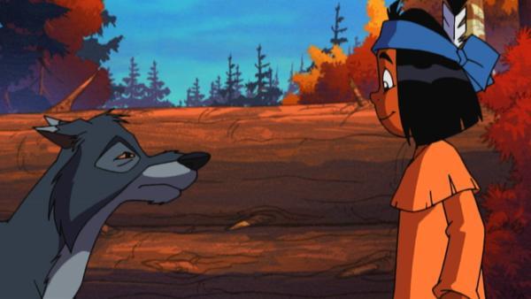 Yakari beschließt, dem Wolf, den er Wolf-Der-Sich-Hinlegt nennt, zu helfen. | Rechte: WDR/Storimages