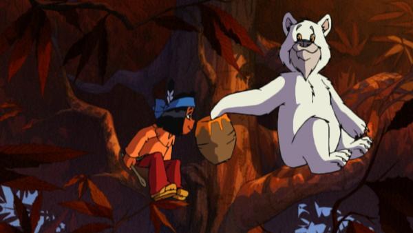 Yakari trifft beim Honigsuchen im Wald auf seinen Freund, den weißen Bären Schneeball. | Rechte: WDR/Storimages