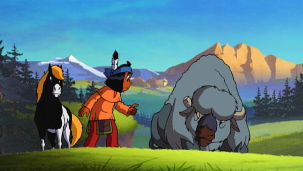 Yakari trifft einen alten Bison, der sich von seiner Herde abgesetzt hat, weil er meint, dass sein letzter Tag gekommen sei. | Rechte: KiKA/Storimages
