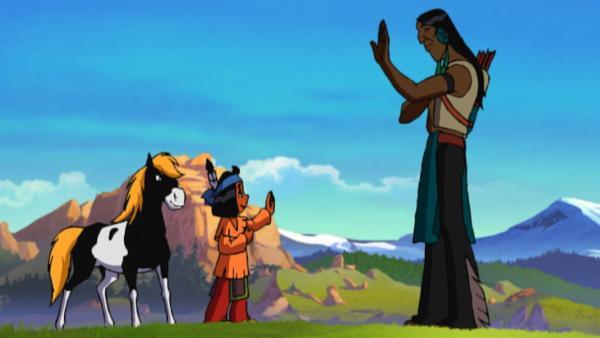 Yakari und sein Freund Großer Bogen | Rechte: KiKA/Storimages