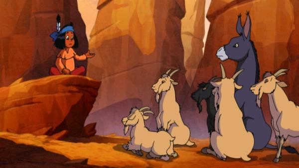 Yakari spricht vor den Ziegen und dem Esel | Rechte: KiKA/Storimages