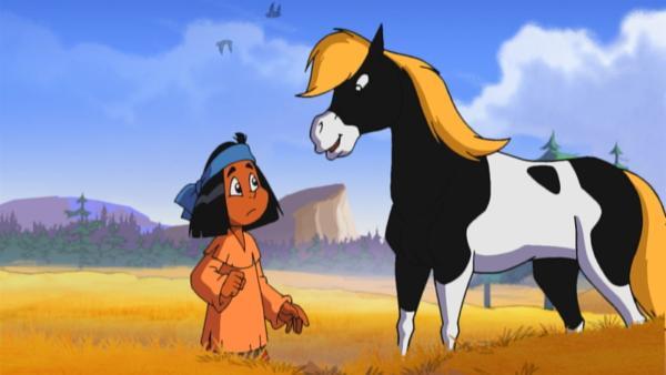 Yakari macht sich Sorgen, weil seine Mutter schon zu lange fort bleibt und reitet ihr mit Kleiner Donner nach. | Rechte: KiKA/Storimages