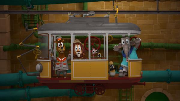 Die Tiere in ihrem Zoomobil auf dem Weg in den Zoo. | Rechte: ZDF/Gaumont Animation