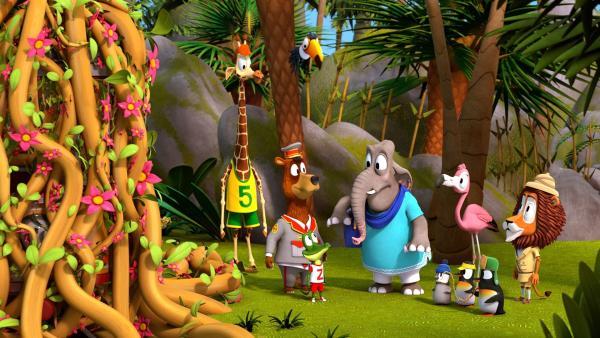 Die Tiere bestaunen die Schlingpflanze, die nach Frau Emiliy (Elefant), benannt wurde.   Rechte: ZDF/Grid Animation