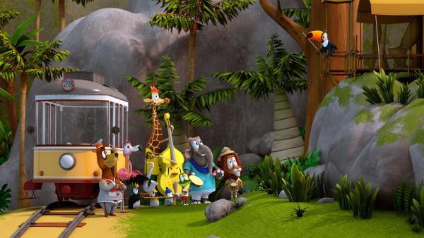 Unter der Leitung von Tukan Toni (oben r.) proben die Tiere das Geburtstagsständchen.   Rechte: ZDF/Grid Animation