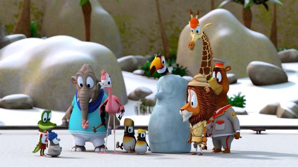 Alle haben dem kleinen Pinguin Kurti (vorne li.) geholfen, einen neuen Eispinguin zu formen.   Rechte: ZDF/Grid Animation