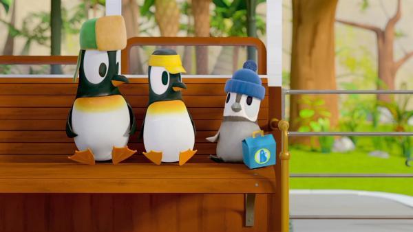 Heute wollen die Pinguine Jonathan, Anni und Kurti (v. l. n. r.) ihr Pfadfinder-Fährtenlesen-Abzeichen machen.   Rechte: ZDF/Gaumont Animation