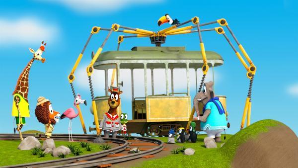 Die Zoobande ist froh, dass die Bahn doch noch geborgen werden konnte. | Rechte: ZDF/Gaumont Animation