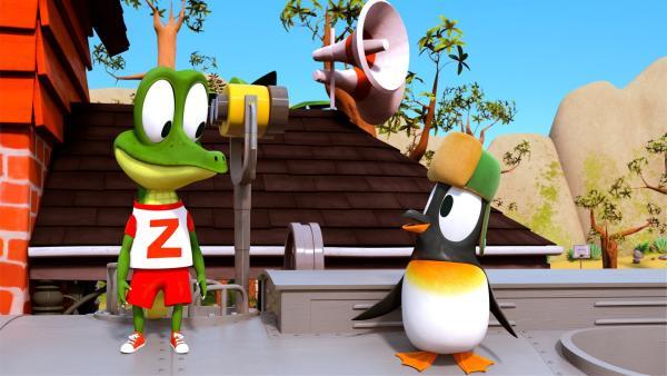 Zacki versteht Jonathans Wunsch, als Pinguin auch mal fliegen zu wollen. Das pfiffige Krokodil Zacki kann Jonathans Wunsch bestimmt erfüllen. | Rechte: ZDF/Grid Animation, TELEGAEL