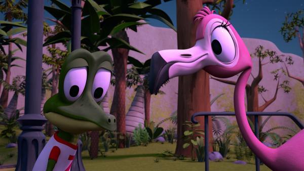 Flora, die Flamingo-Teenagerin, redet Zacki Mut zu, denn er traut sich nicht mit den anderen beim Flamingo-Mond-Tanz mitzumachen. Er denkt, er könne sich nicht gut bewegen.   Rechte: ZDF/Grid Animation, TELEGAEL