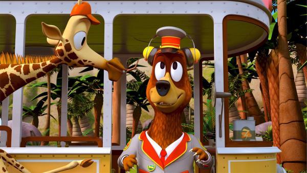 Bruno, der Giraffen-Teenager, hat Balduin seine Kopfhörer geliehen. So kann der Bär ungestört das Tennisfinale verfolgen. Allerdings bekommt Balduin jetzt nicht mehr mit, was um ihn herum passiert.   Rechte: ZDF/Grid Animation, TELEGAEL