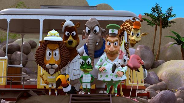 Zacki und seine Freunde sind sauer auf die drei Pinguin-Kinder. Ausgerechnet in der Nacht, in der Herr Timmer mit auf der Vulkaninsel übernachtet, haben die drei einen Streich nach dem anderen gespielt.   Rechte: ZDF/Grid Animation, TELEGAEL