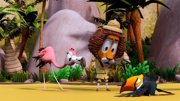 Toni, der Tukan, ist bei den Proben für die Flugschau, abgestürzt. Lionel, der Löwe, hat bei den Proben zu viel von ihm verlangt. Toni traut sich nun nicht mehr in die Lüfte, so dass Flora, die Flamingo-Teenagerin, für ihn einspringen soll. | Rechte: ZDF/Grid Animation, TELEGAEL