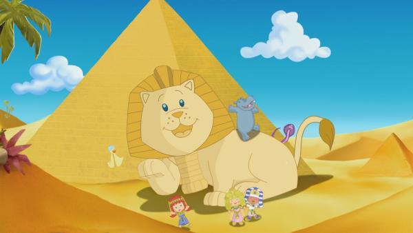 Zoé, Tanja und Finn sind in Ägypten unterwegs.   Rechte: KiKA/Mike Young Productions