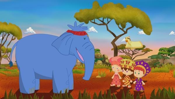 Zoé, Tanja und Lili sind mit Hilfe des Zauberschranks in Afrika gelandet. | Rechte: KiKA/Mike Young Productions