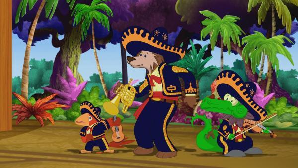 Zoé und ihre Freunde besuchen eine mexikanische Fiesta. Dort wird viel Musik gemacht. | Rechte: KiKA/Mike Young Productions