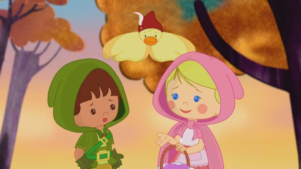 Zoés Zauberschrank hat Zoé und Finn in eine Märchenwelt gebracht. Dort wollen sie Großmutter Geiß besuchen. | Rechte: KiKA/Mike Young Productions