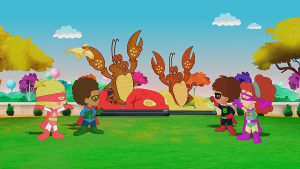 Zoé, QuackQuack, Finn, Tanja und Hamid sind heute Superhelden. | Rechte: KiKA/Mike Young Productions