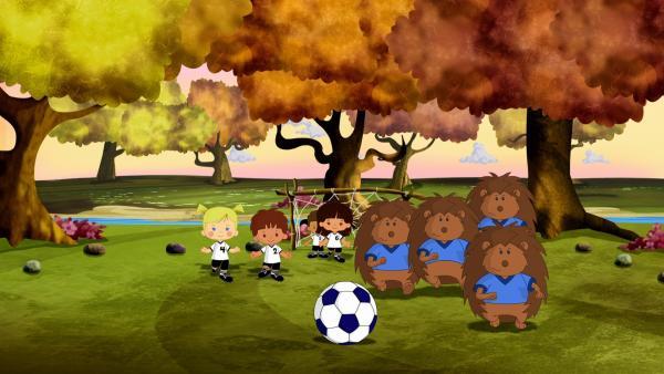 Zoé muss gemeinsam mit ihren Freunden ein riesiges Problem lösen. Denn ein paar Igel, mit denen sie Fußball spielen wollen, werden dauernd von einem Riesen gestört, der den ganzen Fußballplatz kaputt trampelt. | Rechte: KiKA/Mike Young Productions