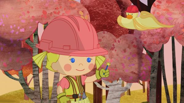Zoé und ihre Freunde bauen den Schweinchen ein neues Haus. | Rechte: KiKA/Mike Young Productions