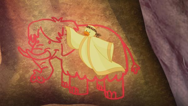 QuackQuack hilft in der Steinzeit Professor Mammut dabei, eine Erfindung zu bauen. | Rechte: KiKA/Mike Young Productions