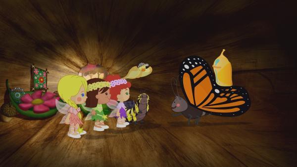 Zoé, Tanja, Carla und QuackQuack lernen eine Raupe kennen, die ganz traurig ist, weil sie ihre beste Freundin nicht finden kann. Die vermisste Freundin hat sich in einen wunderschöner Schmetterling verwandelt. | Rechte: KiKA/Mike Young Productions