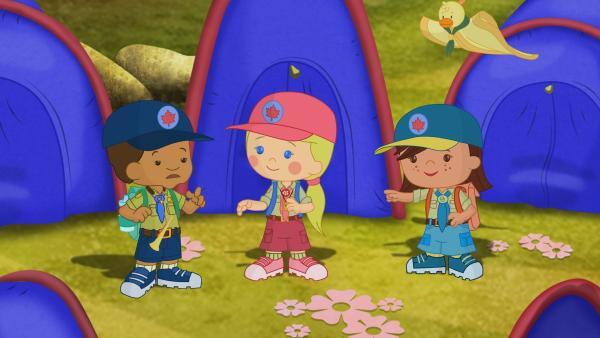 Zoé, Hamid, Carla sind Betreuer in einem Zeltlager. | Rechte: KiKA/Mike Young Productions