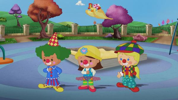 Zoé, Carla und Finn sind heute Clowns. | Rechte: KiKA/Mike Young Productions