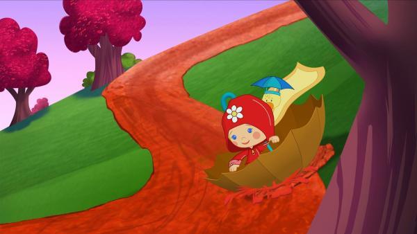 Zoé und QuackQuack machen eine Schirm-Rutschpartie. | Rechte: KiKA/Mike Young Productions