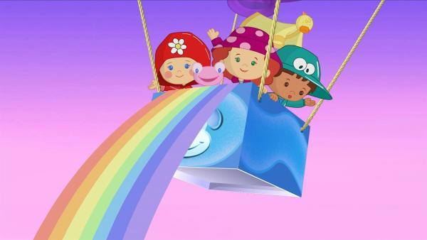 Die Kinder bringen einen herrlichen Regenbogen wieder zurück in den Himmel. | Rechte: KiKA/Mike Young Productions
