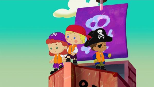 Tanja, Zoé und Hamid landen auf einer geheimnisvollen Schatzinsel.   Rechte: KiKA/Mike Young Productions