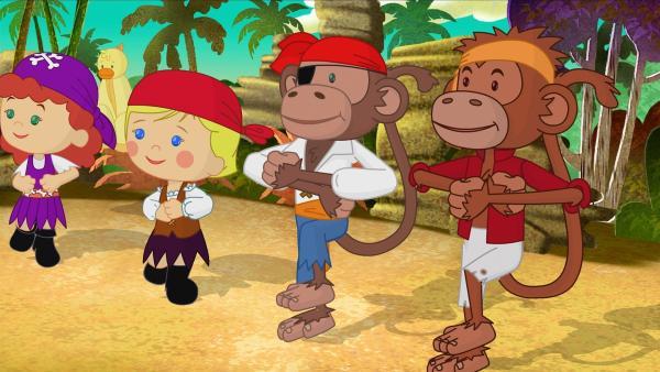 Tanja, QuackQuack und Zoé tanzen gemeinsam mit ihren neuen Freunden – den Affenpiraten. | Rechte: KiKA/Mike Young Productions