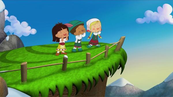 Yasemin, Hamid und Zoé jodeln.   Rechte: KiKA/Mike Young Productions