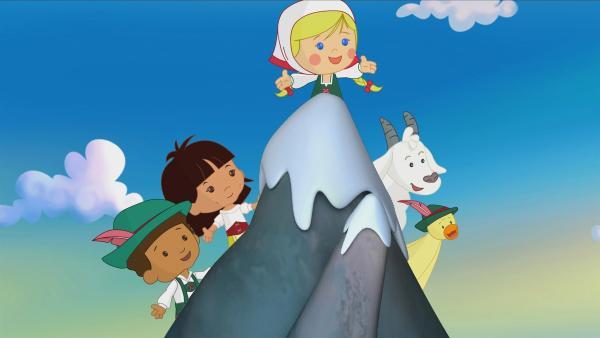 Diesmal sind Zoé und ihre Freunde Hamid und Yasemin in den Bergen. QuackQuack darf nicht fehlen. Sie haben die Bekanntschaft mit einem Bergschaf gemacht. | Rechte: KiKA/Mike Young Productions