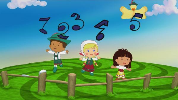 Hamid, Zoé und Yasemin singen und jodeln. | Rechte: KiKA/Mike Young Productions