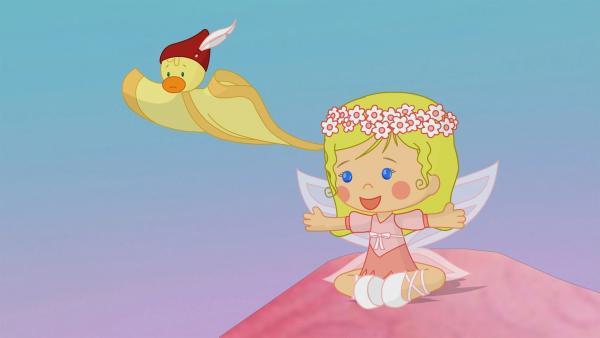 Zoé und QuackQuack entdecken ein ziemlich großes Entennest.   Rechte: KiKA/Mike Young Productions