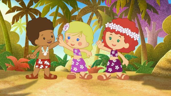 Diesmal reisen Hamid, Zoé und Tanja auf eine tropische Insel. | Rechte: KiKA/Mike Young Productions