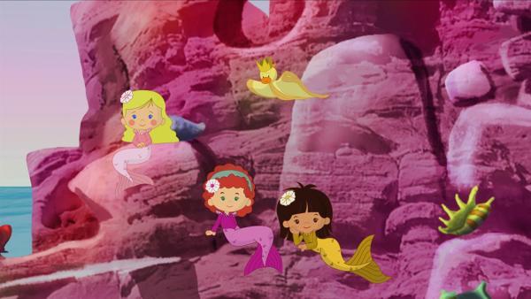 Zoé, Tanja und Yasemin diesmal als Meerjungfrauen | Rechte: KiKA/Mike Young Productions