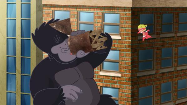 Ob es wohl hilft, wenn der Gorilla einen großen Schluck Wasser trinkt?   Rechte: KiKA/Mike Young Productions