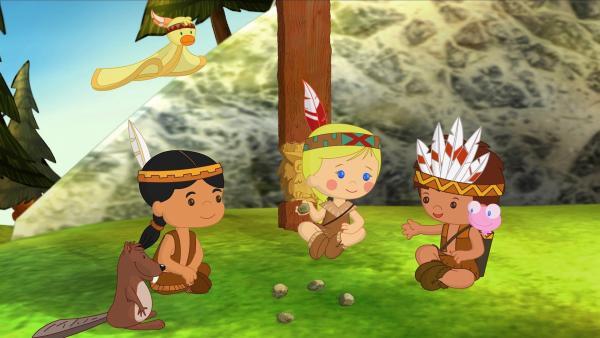 Zoé und Finn treffen einen kleinen Indianerjungen, der ihre Hilfe braucht. | Rechte: KiKA/Mike Young Productions