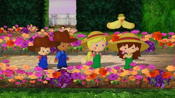 Max, Hamid, Zoé, QuackQuack und Lili in einem wunderschönen Garten voll herrlicher Blumen. | Rechte: KiKA/Mike Young Productions