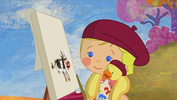 Kunstmalerin Zoé malt eine Kuh, QuackQuack ist begeistert. | Rechte: KiKA/Mike Young Productions