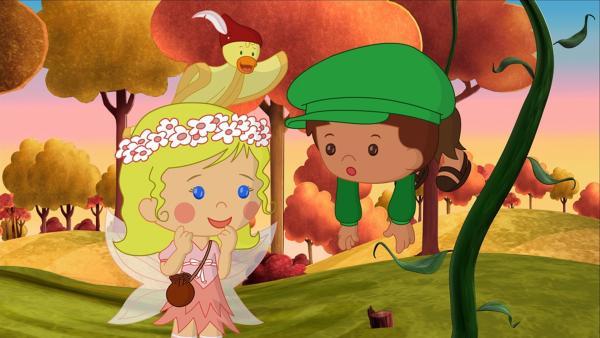 Kaum in die Erde Gepflanzt, wachsen die Zauberbohnen und nehmen Finn mit nach oben. Zoé und QuackQuack sind erstaunt.   Rechte: KiKA/Mike Young Productions