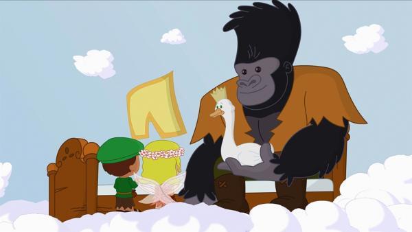 Zoé, Finn und QuackQuack bringen dem Gorilla ein neues und vor allem größeres Bett. | Rechte: KiKA/Mike Young Productions