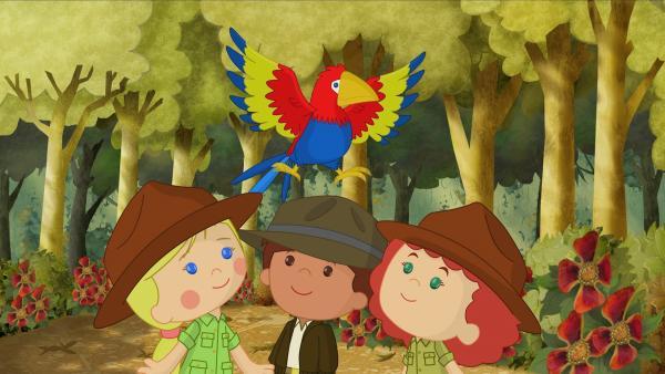 Der Papagei hat einen guten Tipp für Zoé, Finn und Tanja. | Rechte: KiKA/Mike Young Productions